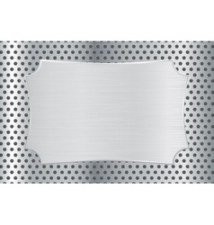 Metal decorative plate on perforated background vector