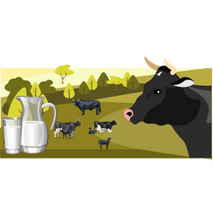 milk and dairy on a background of green lawn and vector image vector image