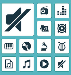 Multimedia icons set collection of dossier vector