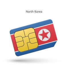 North korea mobile phone sim card with flag vector
