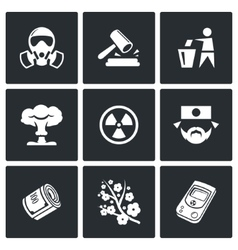 Nuclear power in japan icons vector
