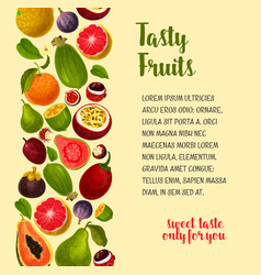 Poster of exotic and fresh tropical fruits vector
