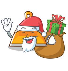 Santa with gift dustpan character cartoon style vector