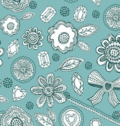 Seamless pattern with blue lace diamonds flowers vector image