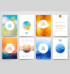 Set of brochures in poligonal style on sun theme vector