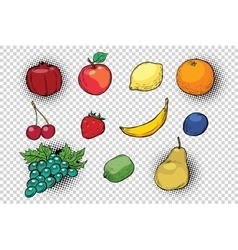 Set of fruits and berries vector