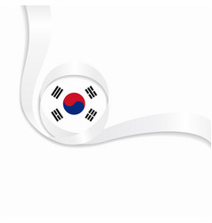 South korean wavy flag background vector