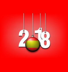 Spanish flag and 2018 hanging on strings vector