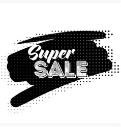 super sale black label with halftone pattern vector image