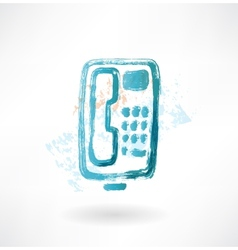 Telephone with buttons grunge icon vector