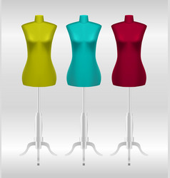 Three female tailors dummy mannequins vector