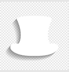 Top hat sign white icon with soft shadow vector