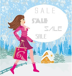 Winter sale abstract card with a beautiful woman vector image vector image