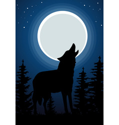 wolf howling at the moon in forest vector image vector image