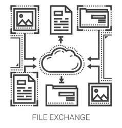 File exchange line icons vector
