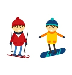Skiing and snowboarding boy vector