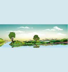 Panorama of nature - green island on the lake vector