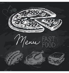 Fast food hand drawn chalkboard design set vector image