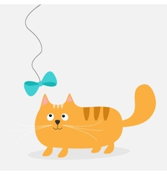 Cute cartoon fat red cat with bow card kids vector