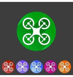 Quadrocopter flat icon sign symbol logo label set vector