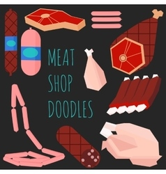 Meat doodles on black background vector