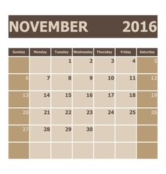 Calendar november 2016 week starts from sunday vector