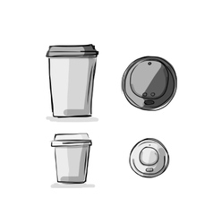 Take away coffee cup sketch for your design vector