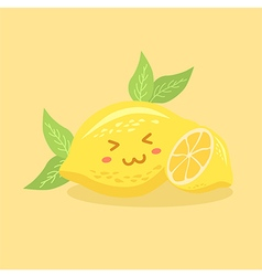 Cute lemon fruit vector