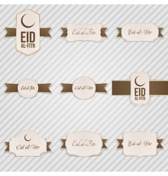 Eid al-fitr festive textile labels set vector