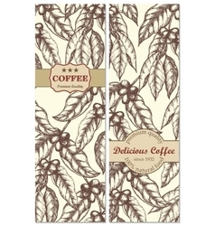 Banner set of vintage handdrawn coffee backgrounds vector image
