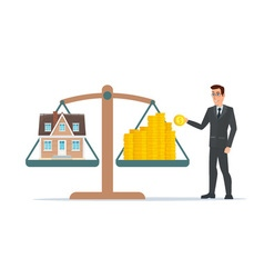 Businessman holding house on money man collects vector