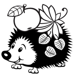 Cartoon hedgehog black white vector