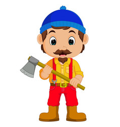 Cartoon lumberjack holding an axe vector