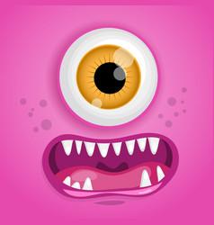 cartoon monster face halloween pink vector image vector image