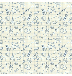 Chemistry doodles seamless pattern vector image vector image