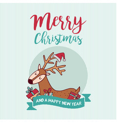 christmas and new year cute holiday gift deer vector image vector image