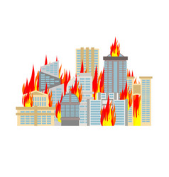 City fire town on flames buildings burn vector