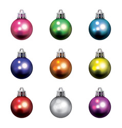 colorful christmas holiday ornaments isolated vector image vector image