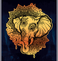 decorative elephant with tribal mandala ornament vector image