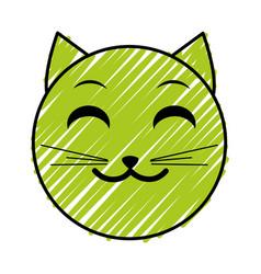 doodle smile cat face emoji expression vector image