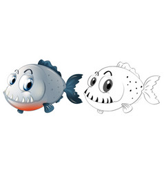 drafting animal for piranha fish vector image vector image