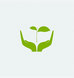 Eco-friendly concept herb in hands vector