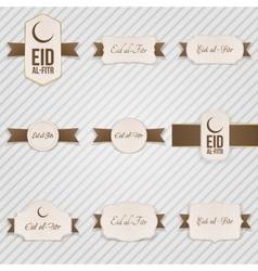 Eid al-fitr festive textile labels set vector