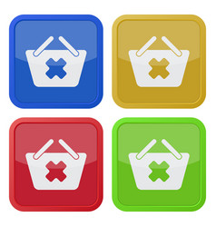 Four square color icons shopping basket cancel vector