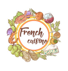 french cuisine hand drawn background with cheese vector image vector image