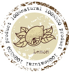 Grunge rubber stamp with lemon shape vector image