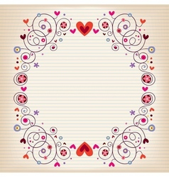 Hearts and flowers frame on lined note book paper vector