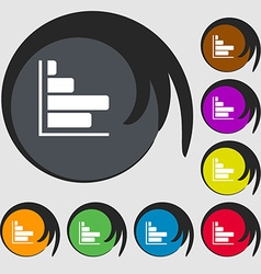 Infographic icon symbols on eight colored buttons vector