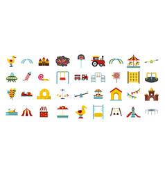 kid amusement icon set flat style vector image