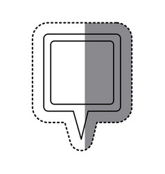 monochrome sticker of square speech with tail vector image vector image